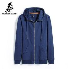 Pioneer Camp hoodies men brand clothing casual solid hooded sweatshirt male top quality black dark blue AWY701206
