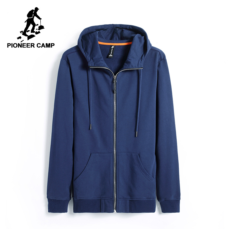 Pioneer Camp new spring hoodies men brand-clothing casual solid hooded sweatshirt male top quality black dark blue AWY701206