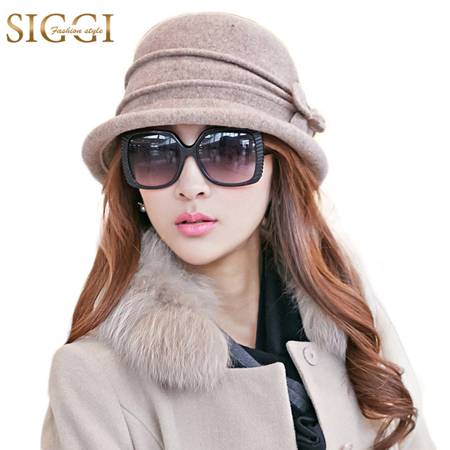 11ba2a9dd30 SIGGI Wool Women Bowler Winter Hat Fedora Bucket Cloche Round Cap 1920s  Vintage Camel Flower Fashion elegant 67112