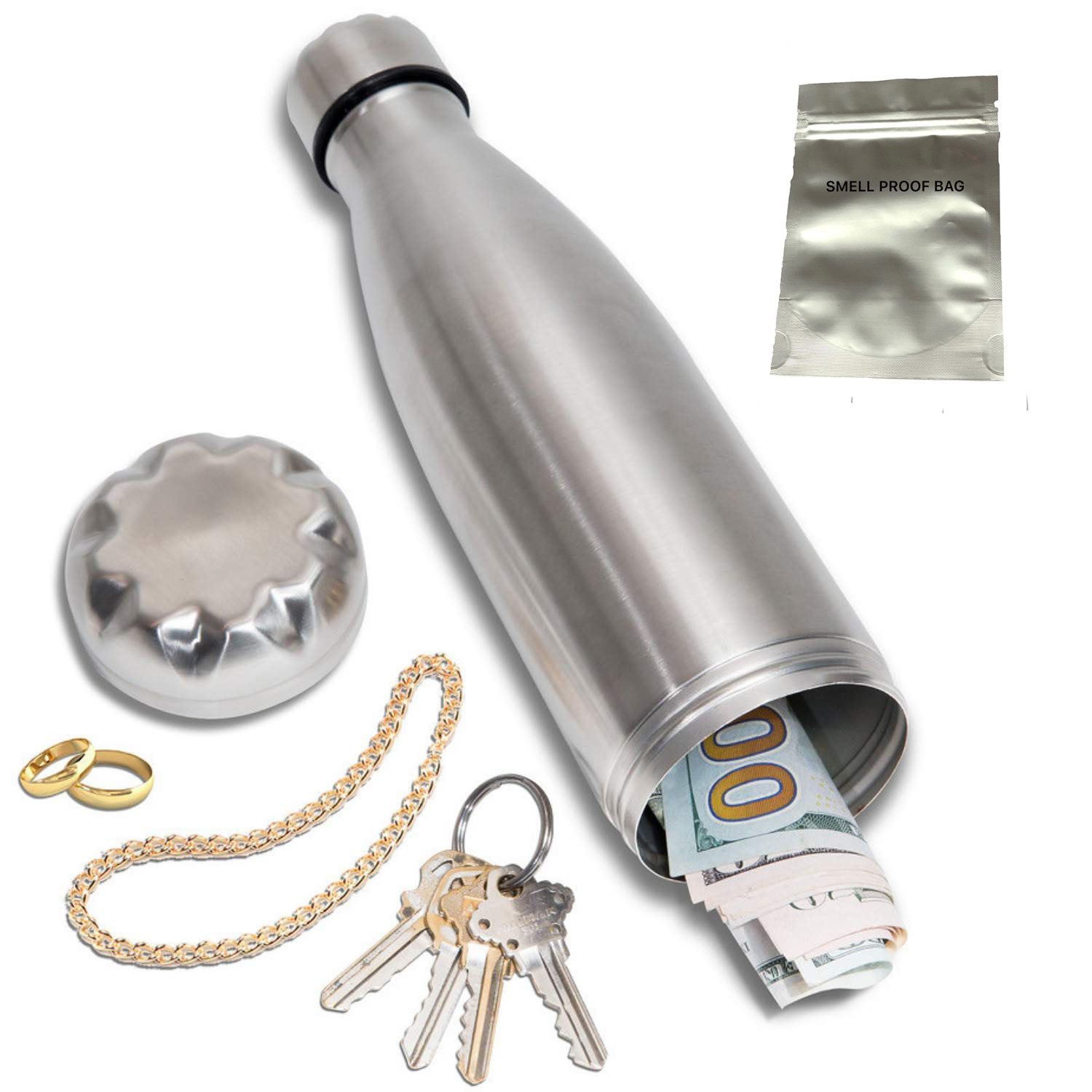 Diversion Water Bottle Can Safe Stainless Steel Tumbler With Hiding Spot For Money, Bonus Smell Proof Bag,Discreet