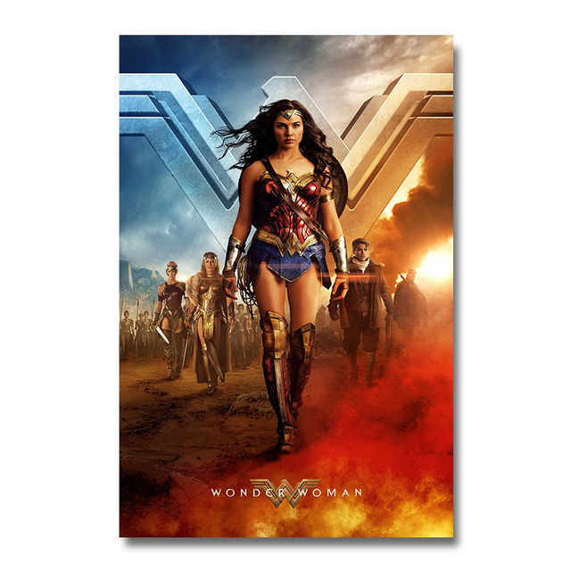 Плакат гобелен Чудо-Женщина материал Шелк