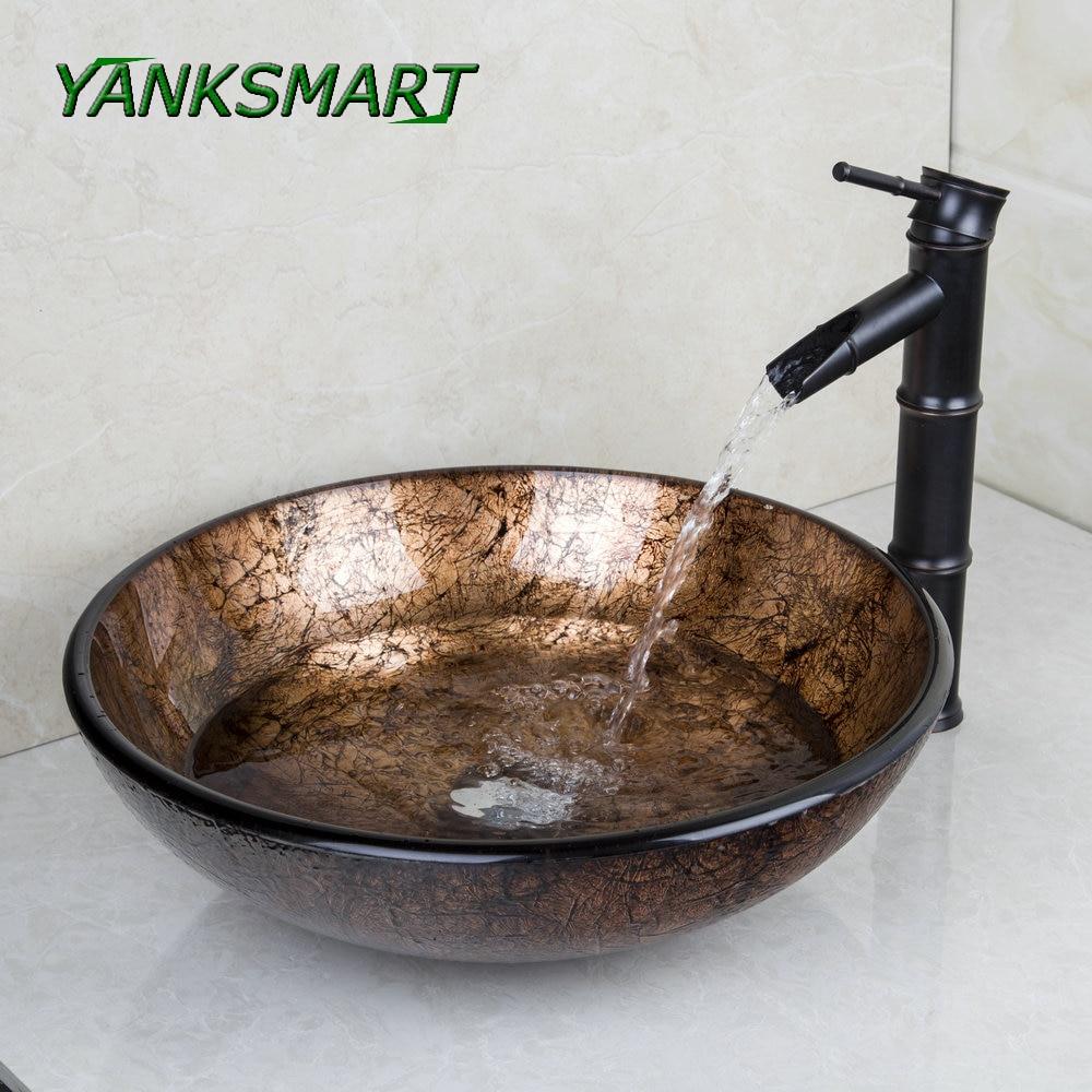 YANKSMART Soild Brass Oil Bamboo Black Faucet Washbasin Lavatory Glass Sink Bath Combo Tap Mixer Faucet