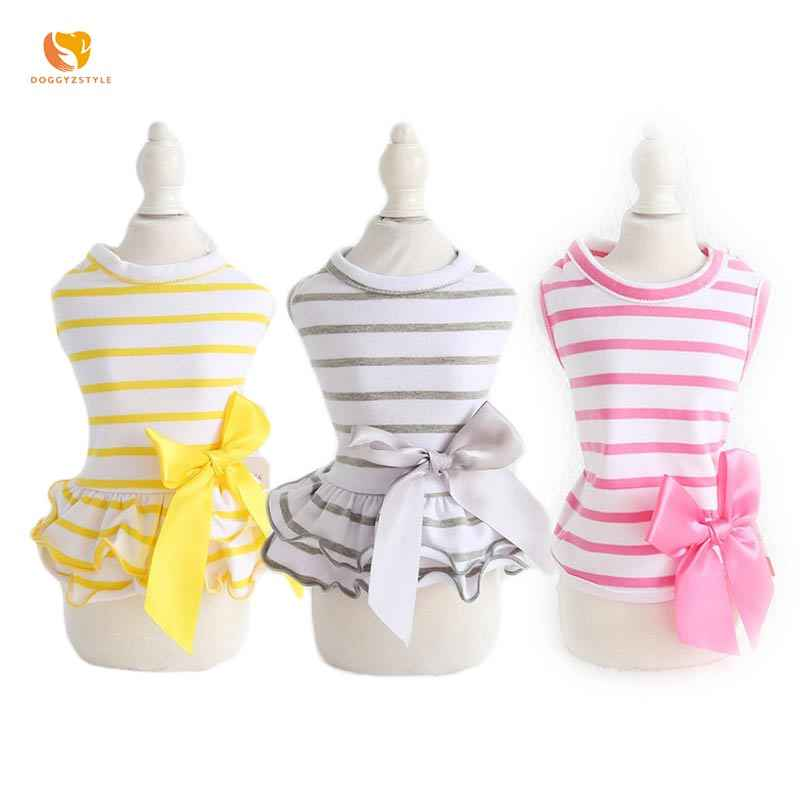 Striped Dogs Dress Pet Big Bow Tie Vest Summer Puppy Dog Skirt Lovers' Clothing For Small Cat Teddy Chihuahua DOGGYZSTYLE