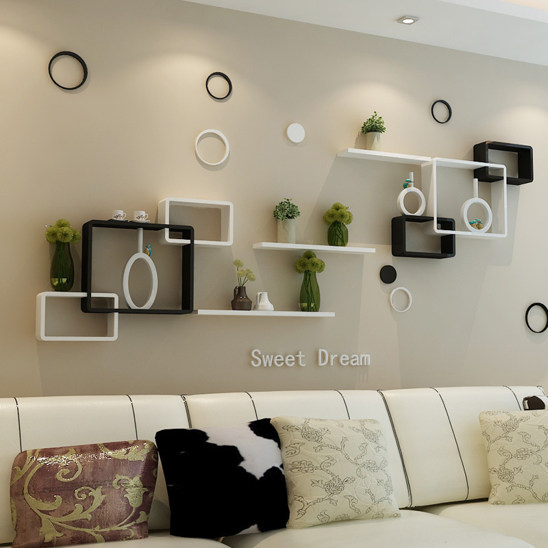 Tv background wall shelving cross creative lattice shelf for Shelves for living room decorations