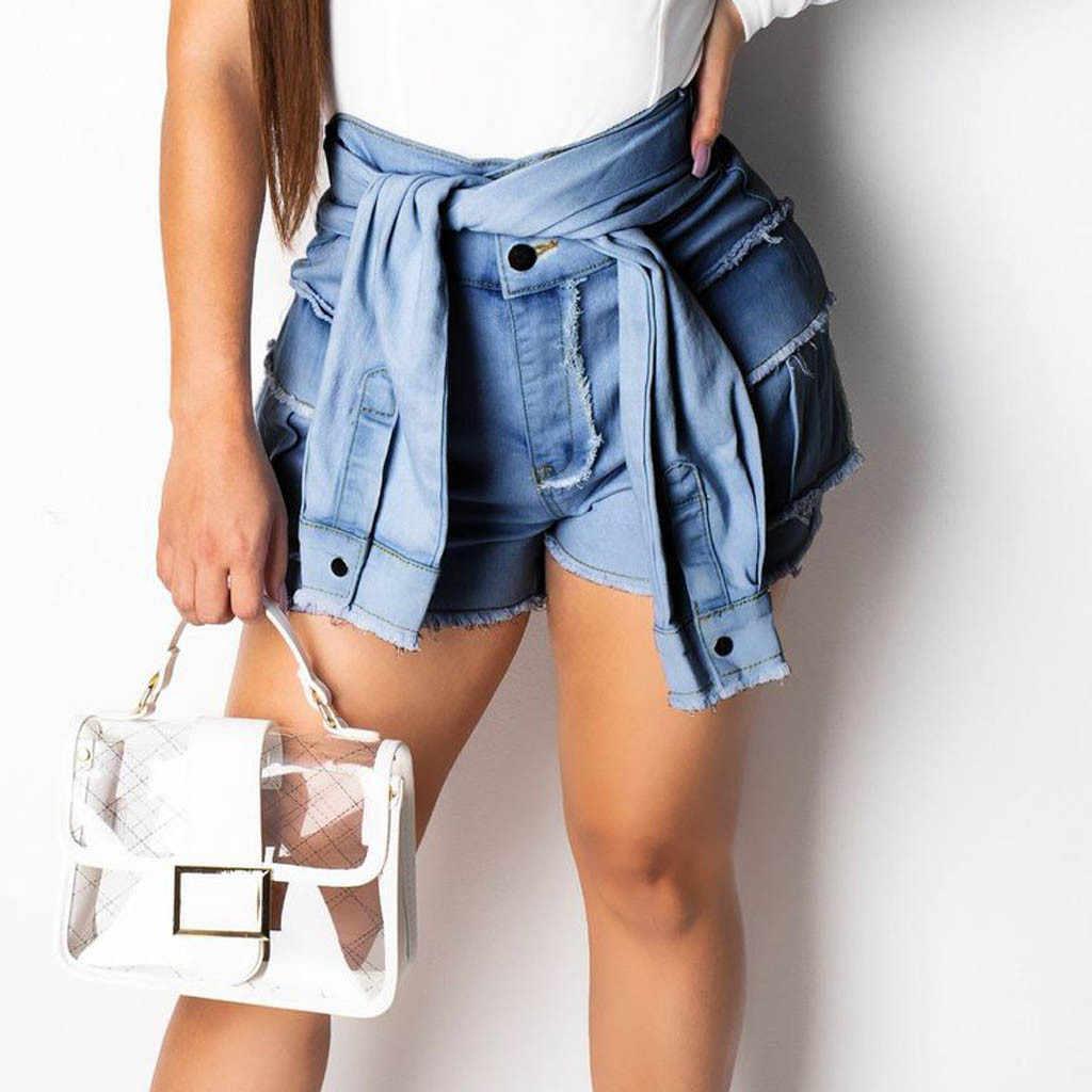 Neue Heiße Jeans Frau Shorts Frauen Mode frauen Taste Quaste Jeans Hohe Taille Denim Schnürung Schlanke Sexy Shorts #1