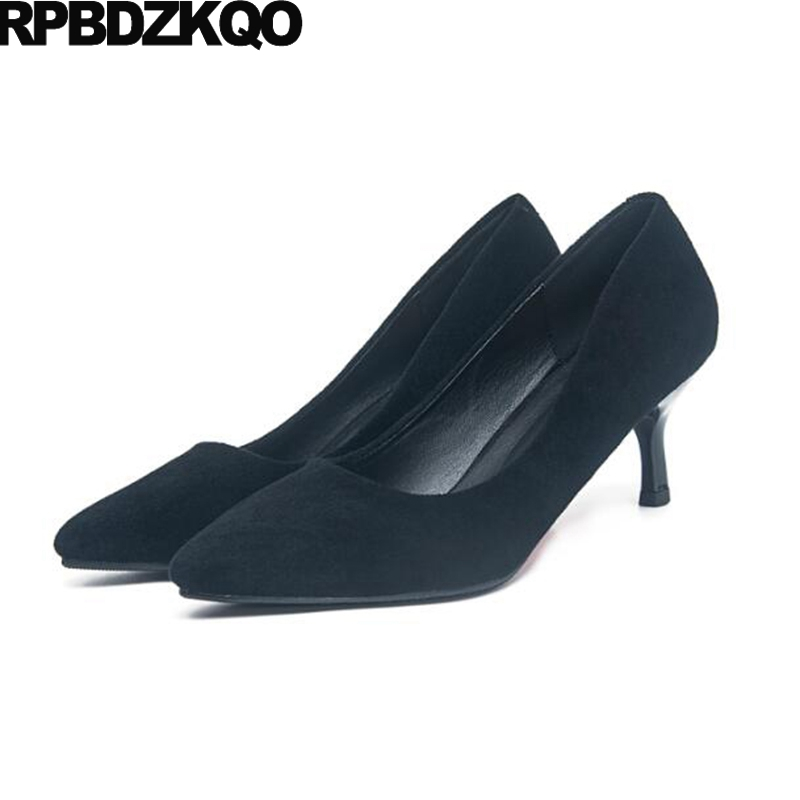 Ladies Pointed Toe Formal 3 Inch Work Pumps Office Shoes Women Modern 2017 Scarpin Suede Size 4 34 Classic Spring Fashion