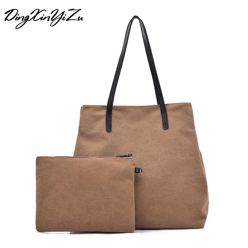 2 Sätze Bolsas Feminine Leinwand Frauen Handtaschen Vintage Große Kapazität Damen Einkaufstasche Casual Mädchen Umhängetaschen 2018 Neue