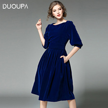 European station 2019 spring new and American womens big brand word collar pleated dress gold velvet long
