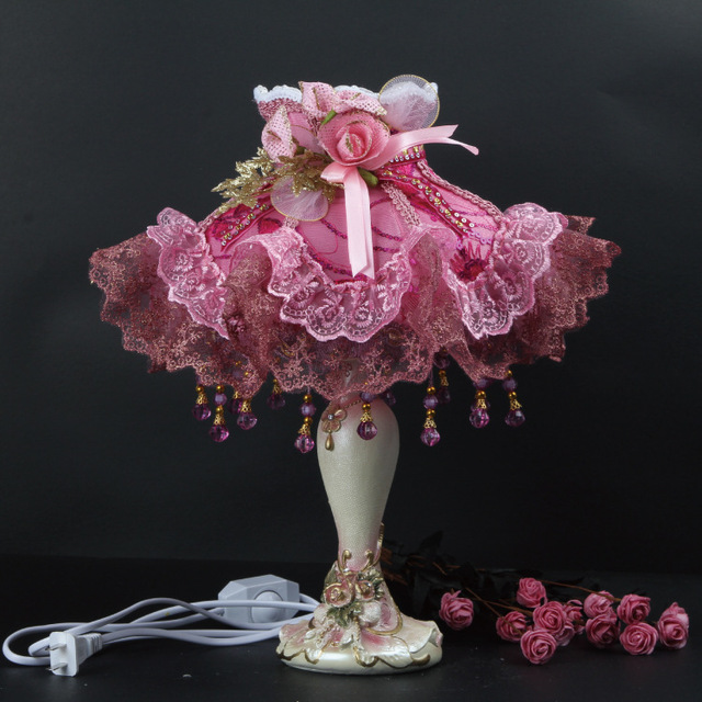 Crystal Cloth Lace Pink Rose Princess Romantic Table Light Desk Lamp Bedroom