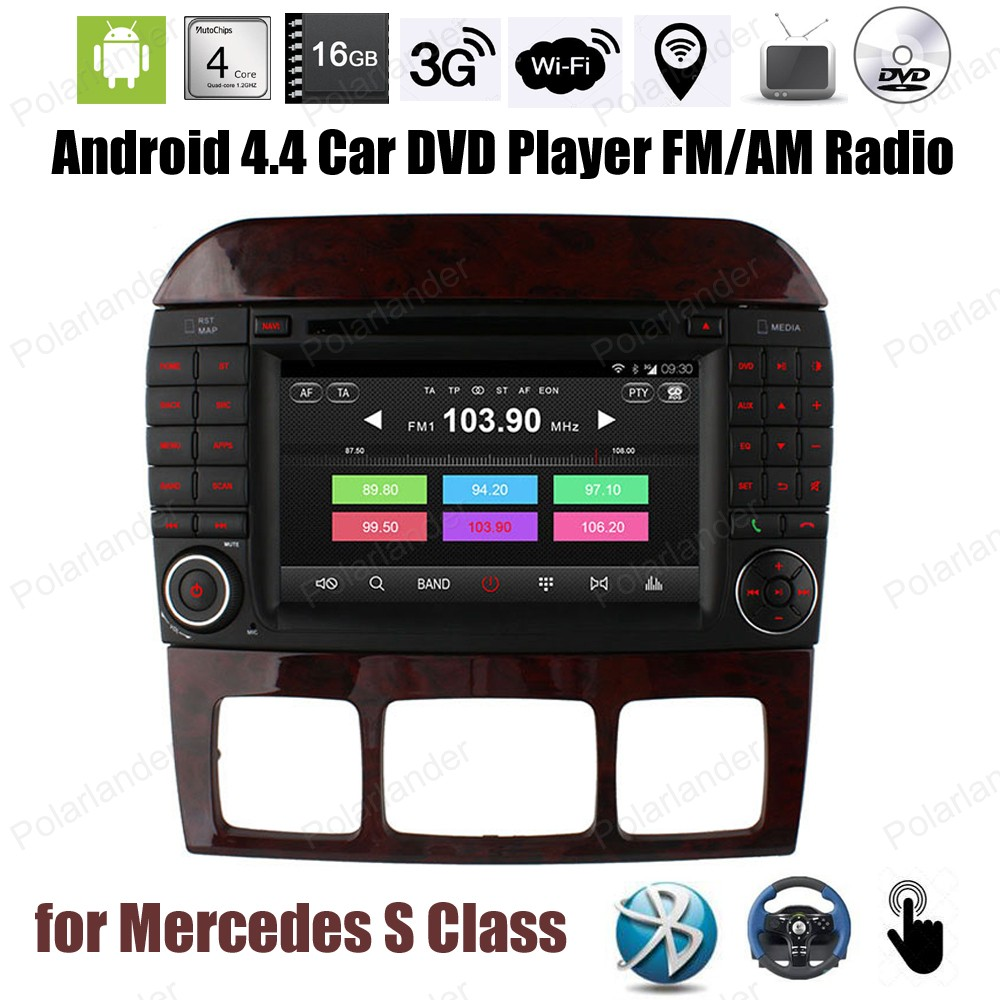 FOR M/ercedes S Class Android4.4 Quad Core Car DVD CD player FM AM radio Support DTV DVR TPMS OBDII mirror link GPS BT 3G WiFi