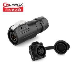 CNLINKO LP Series M12 wodoodporne złącze IP65 6 pinowe AC DC elektryczne wtyk męski gniazdo żeńskie mocowanie panelu do okrągłego kabla zasilającego|ip65 connector|male power plugmale power connector -