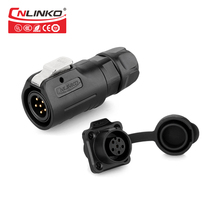 CNLinko LP Series M12 Waterproof IP65 Connector 6 Pin AC DC Electrical Male Plug Female Panel Mount Socket for Round Power Cable