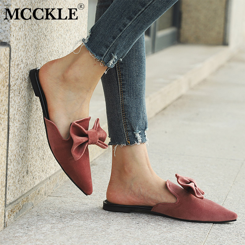 MCCKLE Women Slippers Fashion Bowtie Slip On Flats Pointed Toe Low Heel Flock Summer Shoes Sweet Mules Summer Ladies Footwear xiaying smile summer women sandals casual fashion lady square heel slip on flock shoes pointed toe cover heel lace bowtie shoes