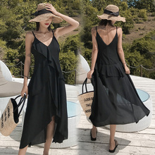Beach Chiffon Sexy Midi Sling Dress for Women Summer Casual Black V-neck Boho Ruffled Bandage Backless Club Party Dress Vestidos цена и фото