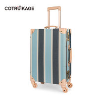 COTRUNKAGE 20 24 26 Canvas Women Travel Vintage Hardshell Cabin Suitcase TSA Lock Hard Case Rolling Carry On Luggage Trunk