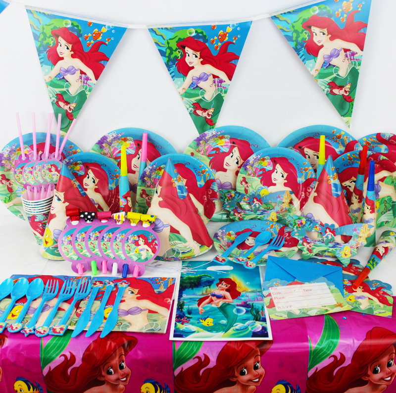 OUSSIRRO Luxury Kids Birthday Party Decoration Set Mermaid Ariel Theme Party Supplies Baby Birthday Paper Party Tools Set