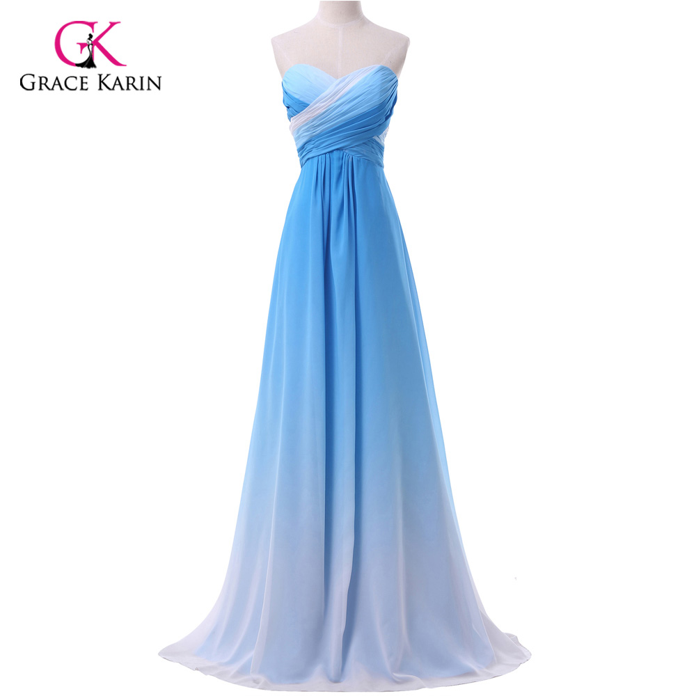 Ombre Evening Dress Grace Karin 2017 New Arrival Chiffon Long Blue Pink Elegant Formal Evening Gowns Dresses Robe de soiree