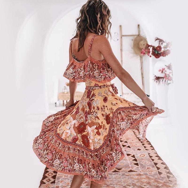 Khale Yose été Boho épaule dénudée robe dos nu Sexy femmes longue robe Floral couches Vintage vacances plage robes robe d'été