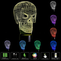 Luminárias Ánh Sáng Ban Đêm 3D Đèn Xương Ma 3D DẪN Chiếu Sáng Trang Trí Thay Đổi Màu Lampara Halloween Kinh Dị Xương S