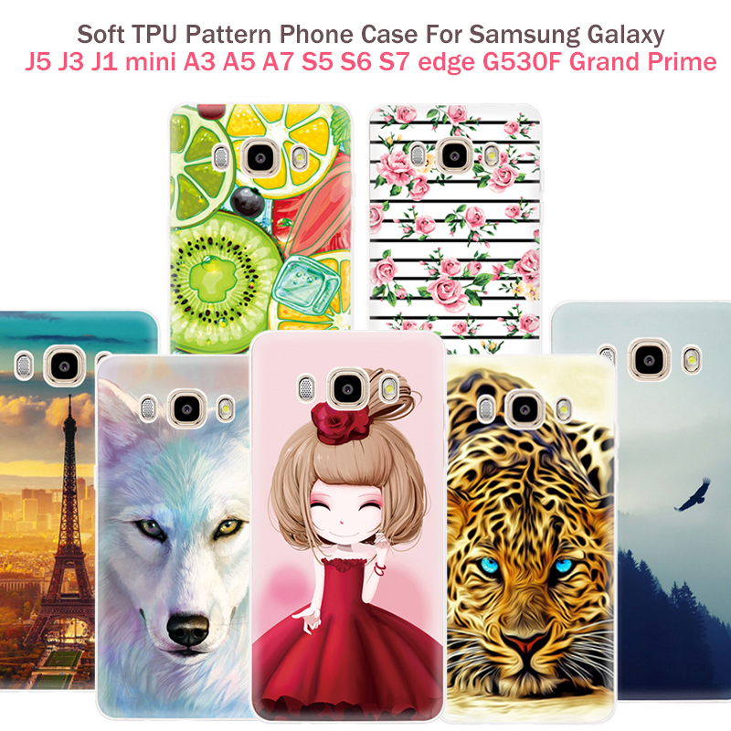 New Pattern Phone Case For Samsung Galaxy J5 J3 J7 2016 J1 mini 2016 A3 A5 A7 2016 S5 S6 edge S7 edge G530 Grand Prime Cover Bag