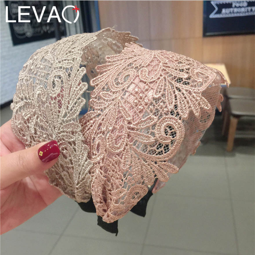 LEVAO Mori Style Retro Lace Hairband For Personality Girl Simple Hollow Floral Pattern Wide-brimmed Hair Band For Elegant Women