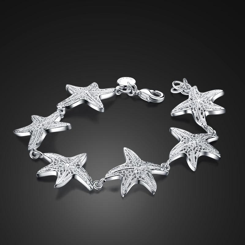 Ocean style Lovely silver starfish bracelet. Solid 925 Sterling silver charm woman bracelet. Wholesale fashion jewelry gifts