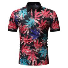 Polo Shirt Men Leaf floral print Mens Clothing Tops Business Casual Tees Short sleeve Lapels