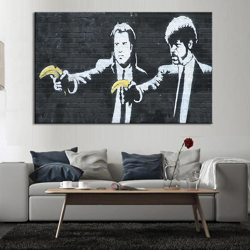 popular art banksy wall buy cheap art banksy wall lots from china banksy art pulp fiction wall decor paintings for living room wall canvas oil paintings china
