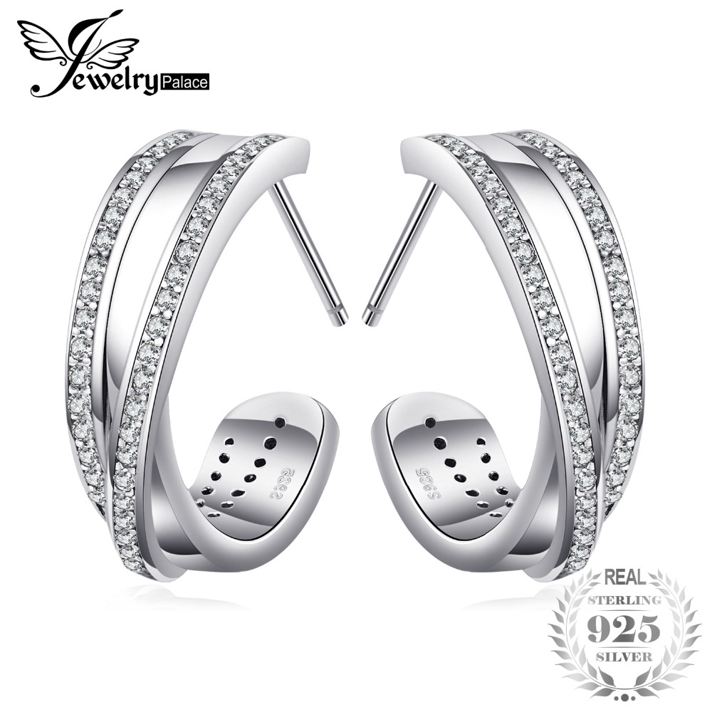 Jewelrypalace 925 Sterling Argent Éternité Est Intervenu Lignes Ouvert Vent Bijoux Pour Femmes Sur Vente Boucles D'oreilles