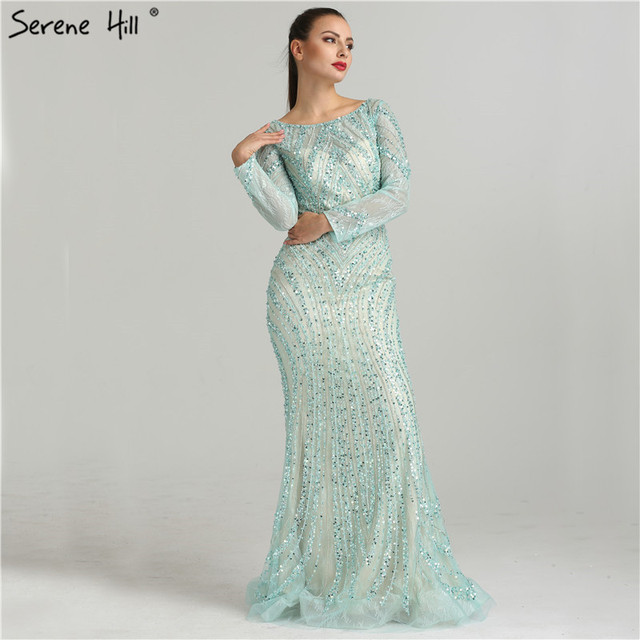 2020 Long Sleeves Luxury Sparkly Tulle Evening Dresses V Neck Mermaid Beading Sequined Evening Gown Real Photo LA6396