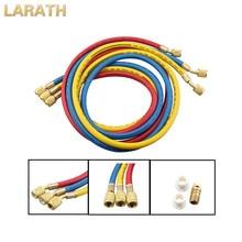 """Larath Новый 150 см/60 """"отопления 1/4"""" SAE 600 фунтов/кв. дюйм зарядки шланги w/Shut Клапан AC хладагент R410A R134a"""