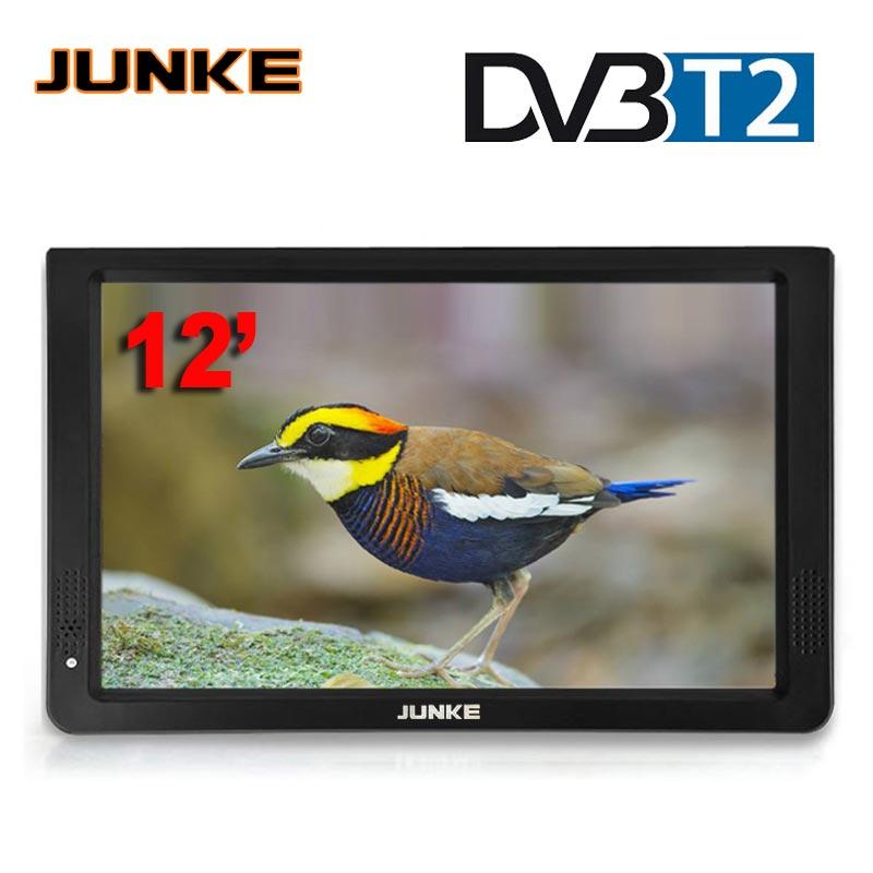 JUNKE 12 дюймов HD Портативный ТВ DVB-T2 цифровой и аналоговый мини маленький автомобильный телевизор Поддержка USB SD карты MP4 Mp5 AC3 1200 мАч батарея