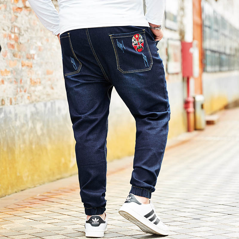 Ankle Length Jeans Harem Pants Joggers Ankle Banded Mask Printed Men Plus Size Denim Dra ...