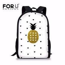 FORUDESIGNS School Bags Backpack Schoolbag Gold Pineapple Pr