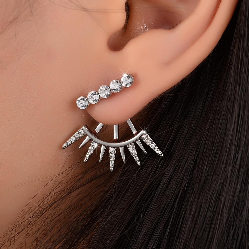 Elegant Full Bling Crystal Geometric Ear Jacket Cuff Stud Earrings For  Women Gold Color Double Sided