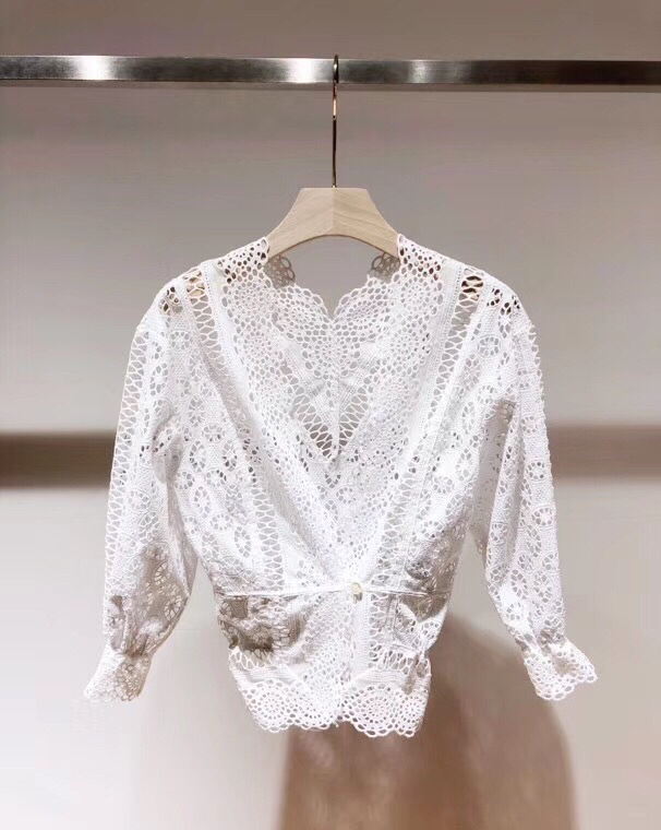 G495017 Frauen Bluse Spitze Shirt Weibliche Lange sleeved Frühling V ausschnitt Temperament Bluse Hemd Solide Kausal Tops - 2