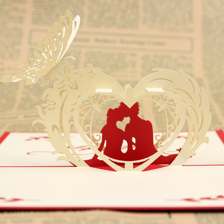 The new 3D card invitation ,wedding invitations, happy lovers holiday greeting card .10*15cm the new 3 d cards banquet invitation cards holiday greeting card 15 15cm