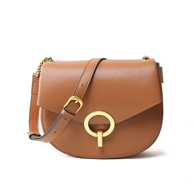 2019 Summer New Genuine Leather Women Bag Retro Round Lock Buckle Leather Bag Shoulder Crossbody Saddle Bag Fashion Handbag Lady2019 Summer New Genuine Leather Women Bag Retro Round Lock Buckle Leather Bag Shoulder Crossbody Saddle Bag Fashion Handbag Lady