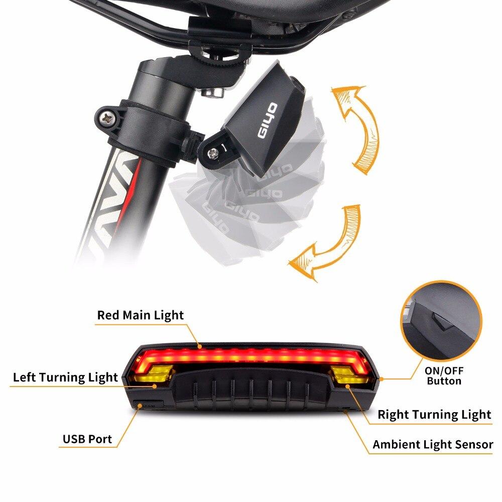 GIYO Batterie Pack Vélo Lumière USB Rechargeable Montage Vélo Lampe Arrière Feu arrière Led Clignotants Vélo Lumière Vélo Lanterne - 5