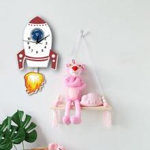Cartoon Rocket Simple Wall Clock Wall Sticker For Children Room Kindergarten Home Decoration Decals DIY Creative Pendulum Watch