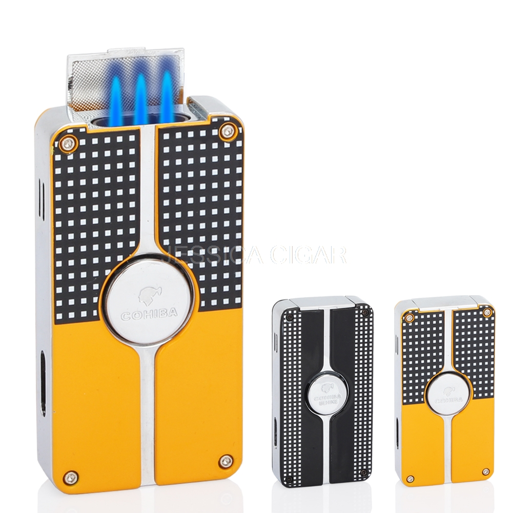 COHIBA Metal Middle Button Cigar Lighter Windproof 3 Blue Jet Flame Cigarette Torch Lighters Butane Gas Lighter