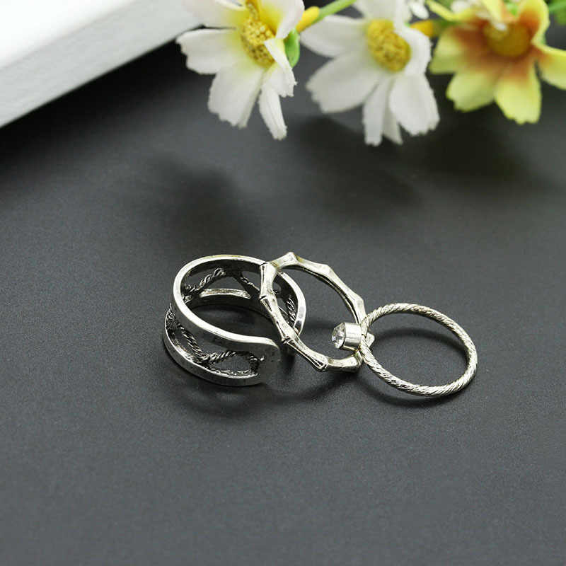 3 pieces/set Bones Skull Knuckle Rings Set Silver Crystal Rhinestone Hollow Open Ring Adjustable Women Midi Finger Jewelry