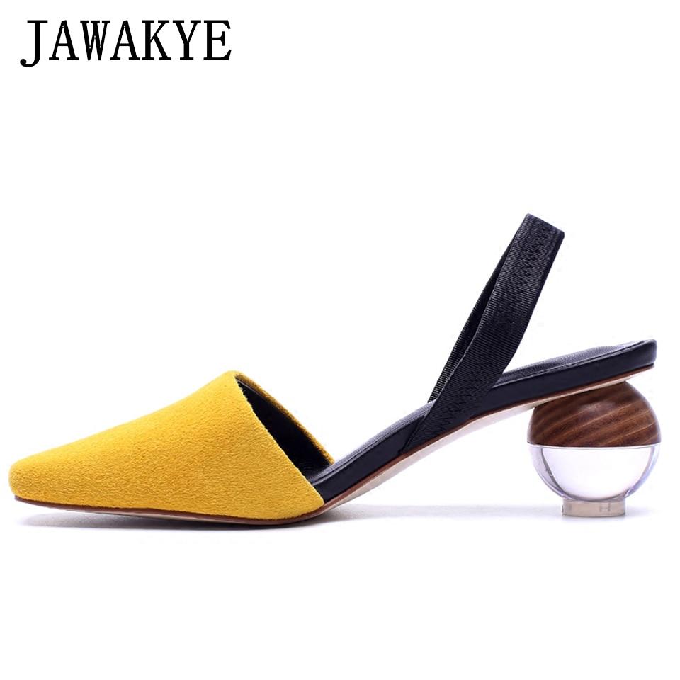 2018 Elegant Shoes Woman Sandals Gladiator low heels Sandals Round shaped Clear heel Ladies Slingbacks Summer Womens Sandals