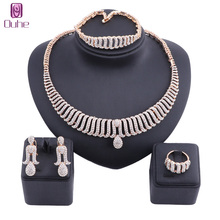 hot deal buy women design bridal gift nigerian wedding dubai gold color crystal jewelry set fashion african beads jewelry set