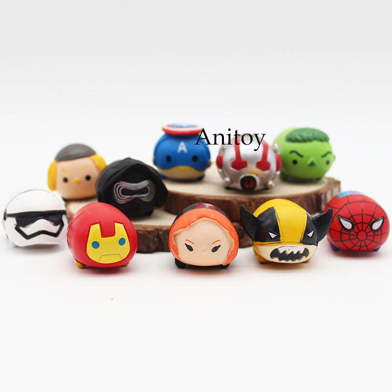 10 pcs/set Tsum Tsum mini lot The Avengers Captain America Star Wars Q version PVC Action Figure Collectible Model Toy KT3090 1 6 scale figure captain america civil war or avengers ii scarlet witch 12 action figure doll collectible model plastic toy