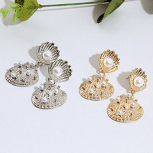 Women Geometric Pearl Alloy Earrings Vintage Trend Sea Wind Metal European And American Earrings Pendant Ornaments стоимость