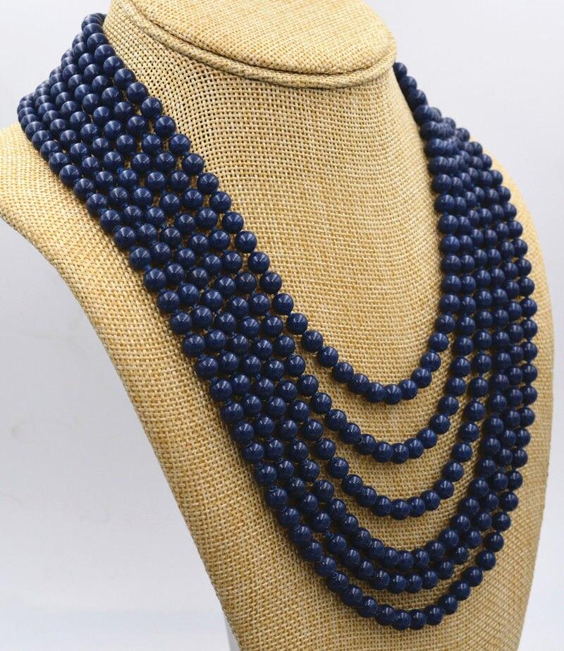 Nouveau collier de perles lapis lazuli bleu foncé 6mm charmant 6 rangées 18-25