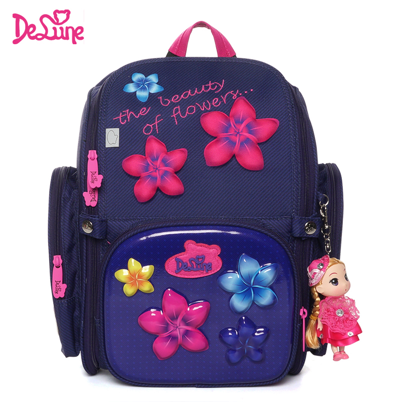 Famous Delune Brand Floral Children School Bags for Girls Flowers Orthopedic Backpack Primary Satchel Mochila Infantil
