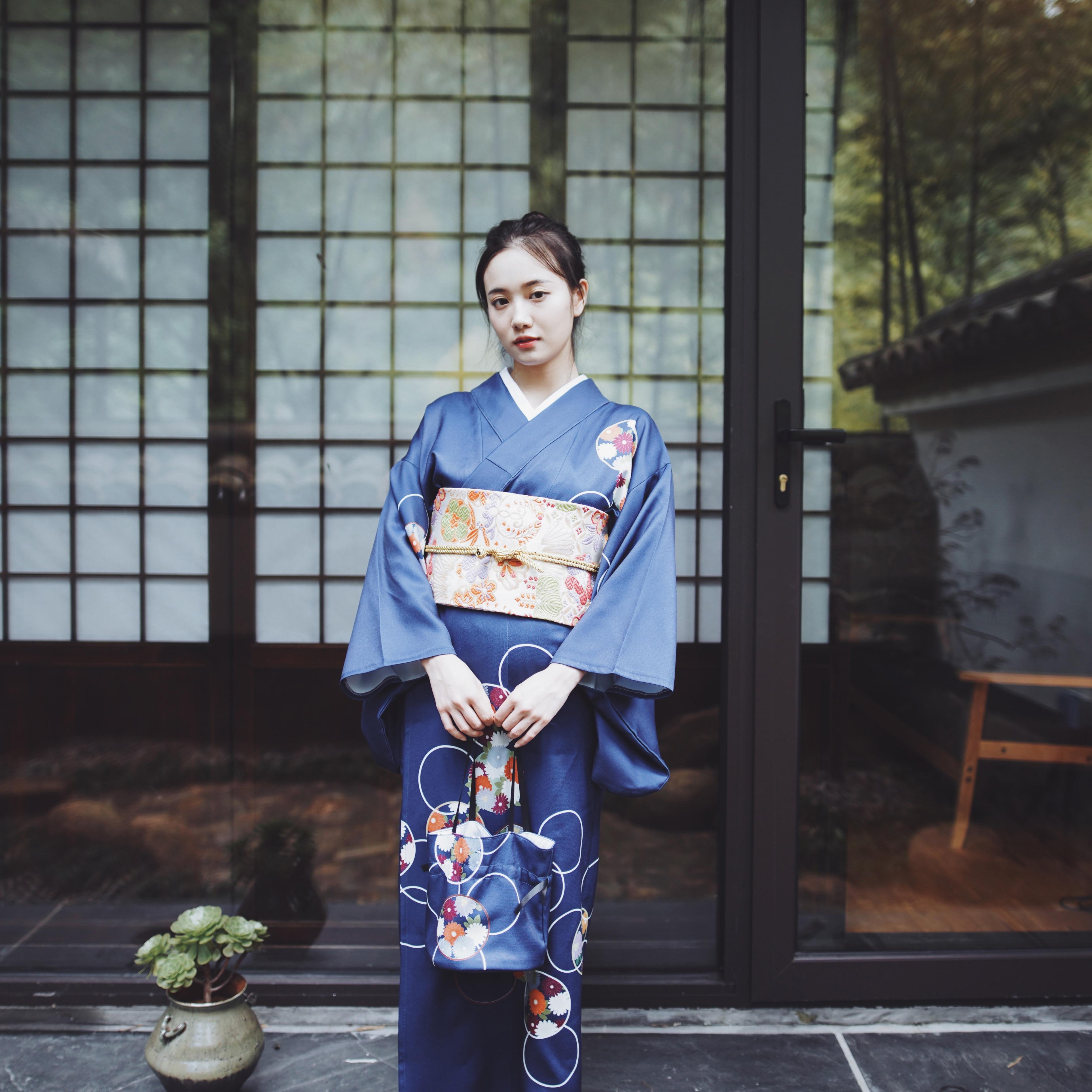 Superbe kimono traditionnel japonais prendre photo robe cosplay femme yukata femmes haori japon costume de geisha obi kimonos