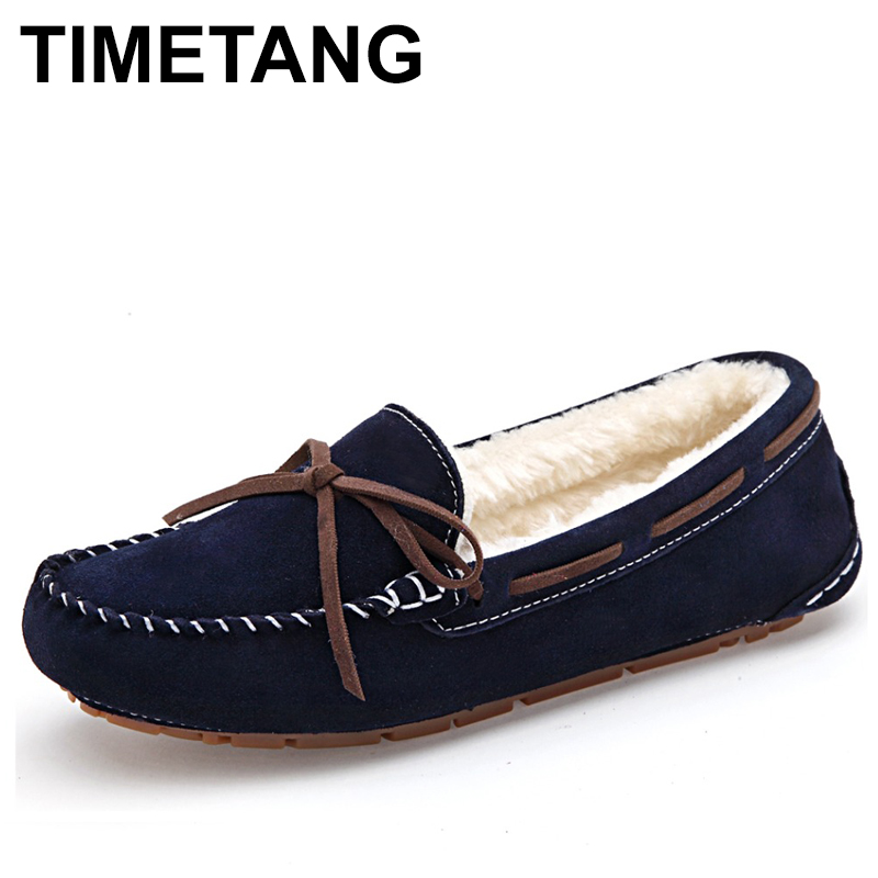 TIMETANG Winter Fur Lined Women Suede Slip-on Ladies Moccasins Soft Warm Plush Flat Driving Loafers Boat Shoes Woman  C286 uexia women winter warm fur plush loafers fashion round toe slip on ladies casual flats shoes women s bow tie ladies footwear